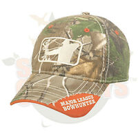 Low Profile Heavy Washed Major League Bowhunter Logo Camo Cap Hat Mlb01