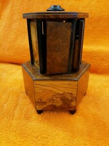 Vintage Cigar Carousel and Music Box, Stunning Burl Walnut Inlay Austria ,