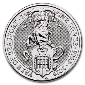 2019-Queen-039-s-Beast-Collection-The-Yale-Of-Beaufort-2-oz-9999-Silver-BU-Coin
