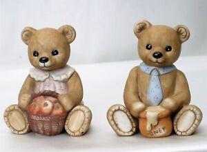 Vintage Homco Girl Bear With Basket of Apples Figurine