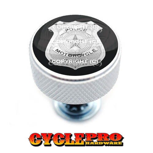 Chrome Knurled Billet Seat Bolt 96-UP Harley Touring  POLICE BADGE 020