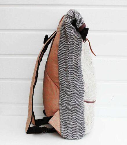 Sac de chanvre Fait Main Beige Fold-Top Sac à dos Organic Handmade-Beni