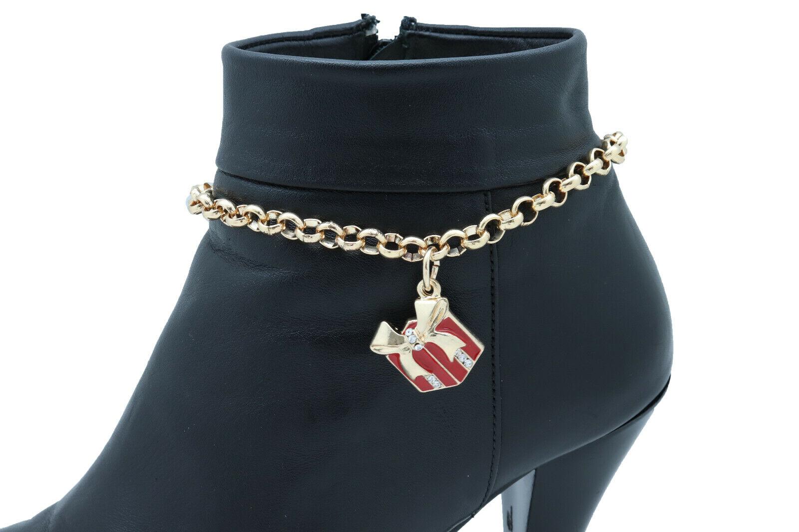 Women Gold Metal Chain Boot Bracelet Shoe Gift Present Charm Christmas Signature