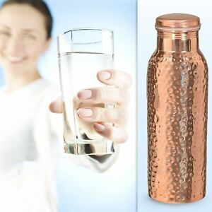 Indian Hammered Traditional Pure Copper Water Bottle Yoga Health Benefits 1ltr