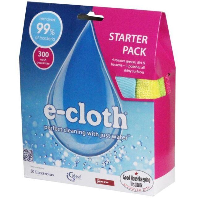 E-cloth Démarreur Paquet 4 X Microfibre Nettoyage Enlever Graisse & 1 X Polir