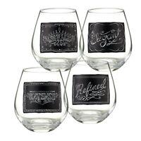 Grasslands Road - Wine Trail - Chalkboard Stemless Wine Glasses Set / 6 - 470741