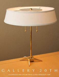SLEEK-MID-CENTURY-MODERN-BRASS-STIFFEL-DESK-LAMP-ATOMIC-VTG-50S-DIFFUSER-TABLE