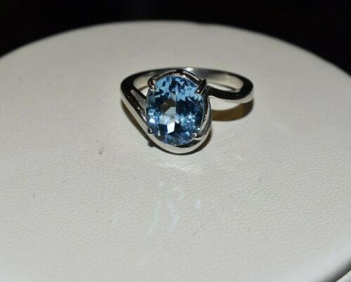 Details about  /925 Sterling Silver Natural Gemstone Blue Topaz Women Ring Engagement Ring