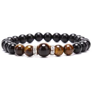 Naturstein-Perlen-Tiger-Augen-Schwarz-Obsidian-Maenner-Armband-Armreif-SchmuckXUI