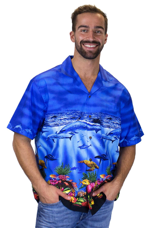KY's Original Camicia Hawaiana Delfino Blu