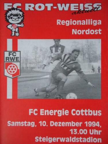 Energie Cottbus Programm 1994//95 Rot Weiß Erfurt