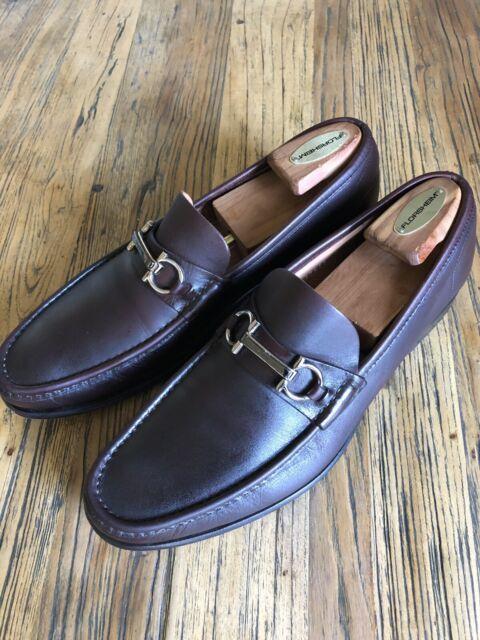 Salvatore Ferragamo Mens Brown Leather Italy Horsebit Slip On Dress Loafers 10 D