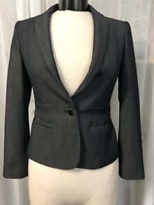 Calvin Klein Women's Blazer  Charcoal 1 Button Lined Size 0 NWT $129