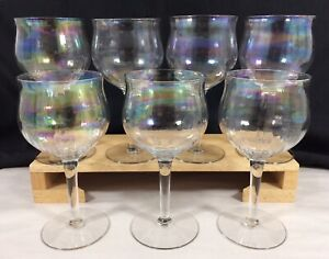 Rainbow Color Wine Glass Goblet Glass Cup with Gold Rim