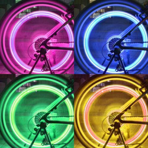 1 or 2 Valve Dust Cap Tyre Colour LED Neon Car Bike Wheel Light Safety