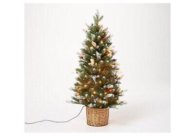 Bethlehem Lights 4' Lit Flocked Potted Tree Wicker Basket ...