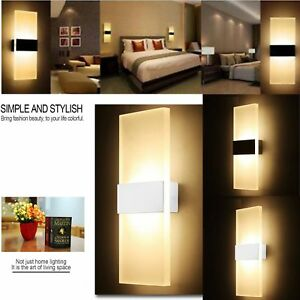 image is loading modern led wall light up down cube indoor - Outdoor Sconce Lighting
