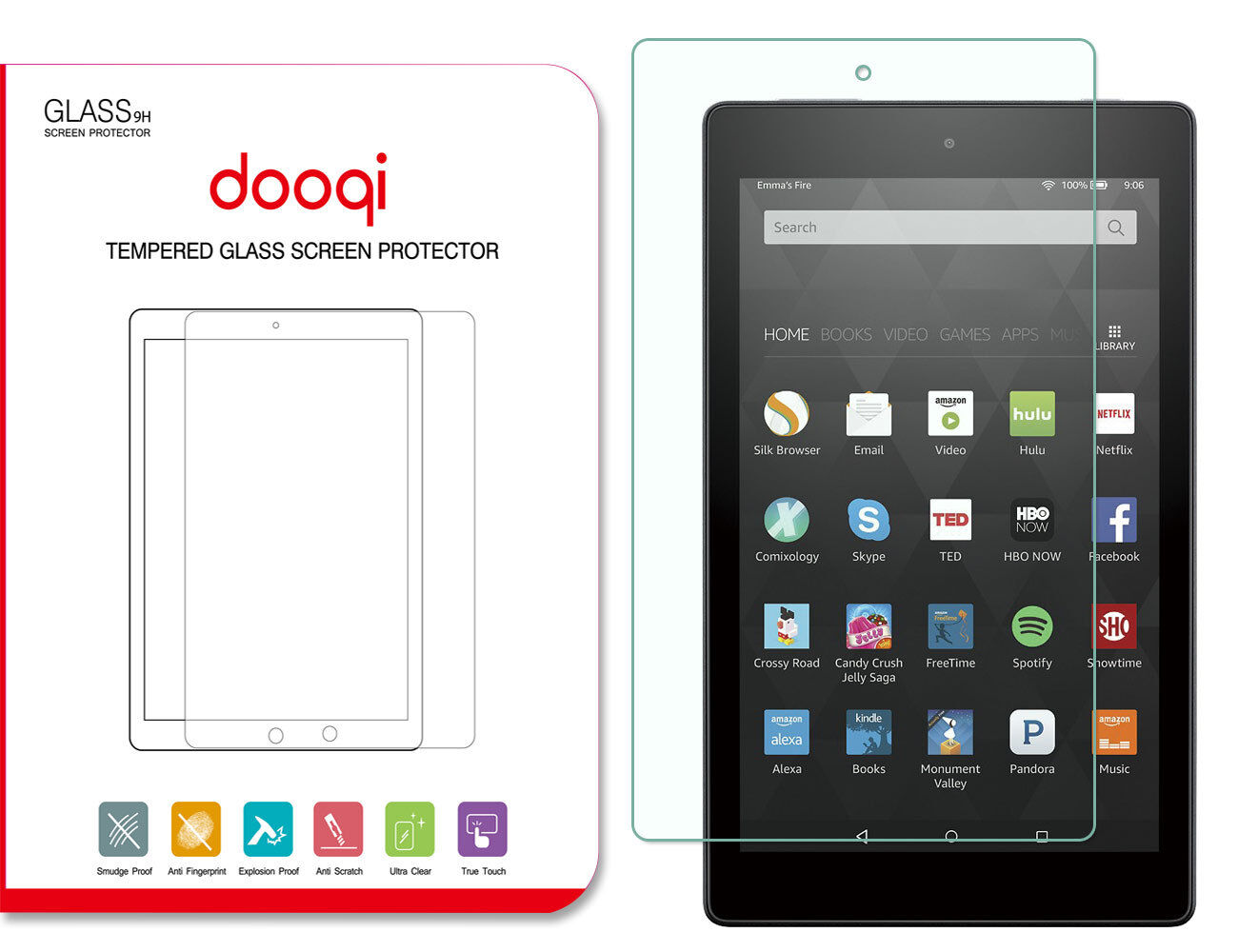 7th Gen Tablet Tempered Glass Screen Protector Cover For Amazon Kindle Fire 7