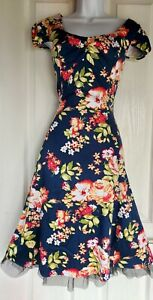 Womens H&R Dress hearts&roses rockabilly retro size 14 blue flower fit&flare vgc