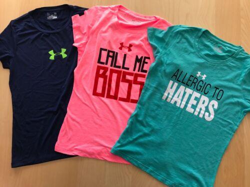 """Under Armour Lady Girl Tech Heatgear Shirt Run Train Crew Cotton /""""CALL ME BOSS/"""""""