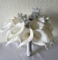 Ivory Calla Lily Silver Baby Breath Bridal Wedding Bouquet & Boutonniere