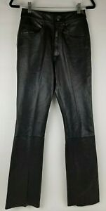 Vintage-Wilsons-Maxima-Women-039-s-Black-100-Leather-Pants-Lined-Bootcut-Size-4