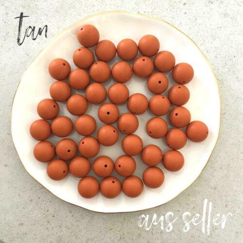 10 silicone beads TAN 19mm round BPA free baby sensory jewellery DIY 20mm brown