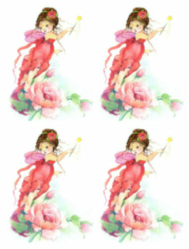 Shabby Soft Pastel Watercolor Red Pink Little Fairy Girl Transfers Decals KID667