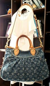Authentic-Louis-Vuitton-Neo-Cabby-MM-Monogram-Embroidery-Blue-Denim-Two-Way-Bag