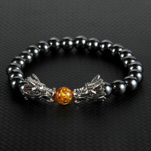 9e7cc627b71ba Details about Two Dragons Frolicking With A Bead Charm Hematite Stone  Beaded Bracelet Gifts