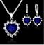 925 Sterling Silver Filled Heart Shape Blue Crystal Jewellery Sets.