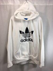 Adidas Hoodie Hooded Sweatshirt Mens XL White Black Cotton