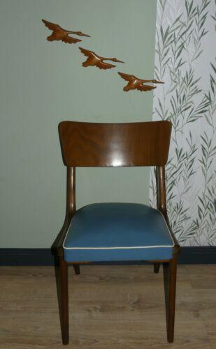 Set von 2 Stück 1950er Stuhl mit BLAUER Sitzfläche Federkern Küchenstuhl  Mängel
