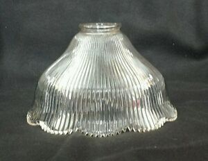 vintage holophane style steampunk ribbed glass lamp light shade 2