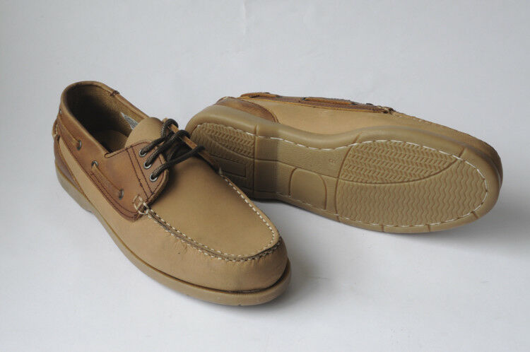 Clifford James Mens Gents Beige Dartmouth Deck Leather Lace Up shoes DTE