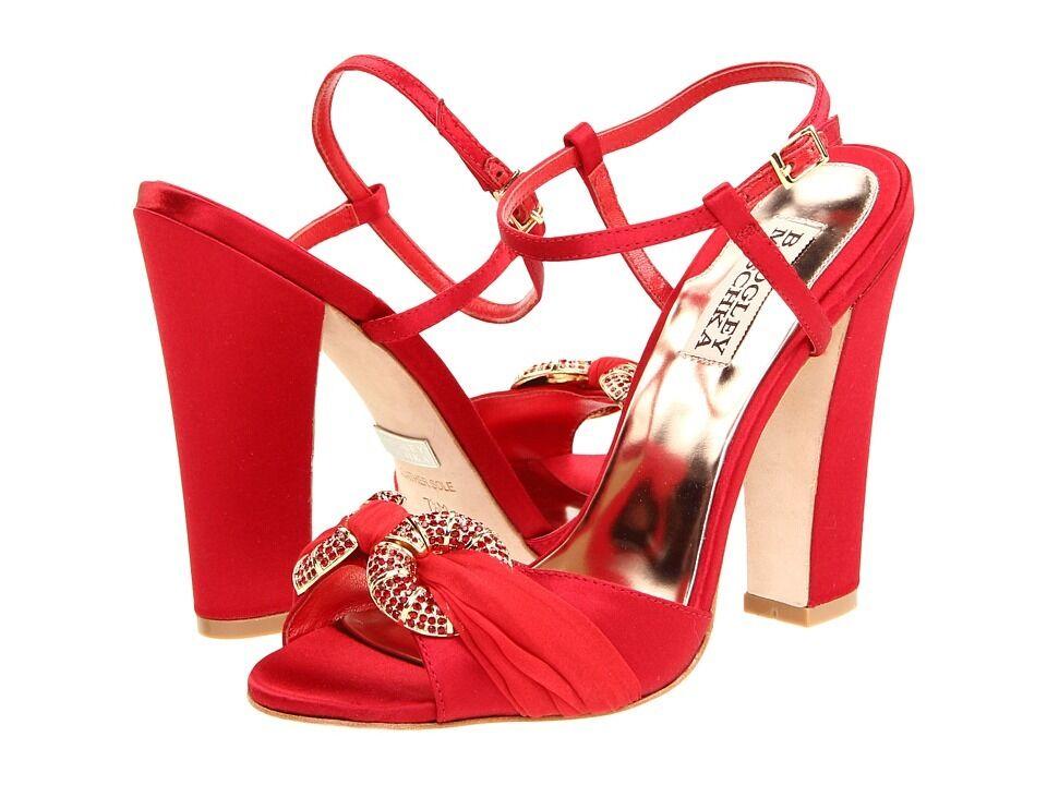 Nuevo En Caja Badgley Mischka Jeweled Noche Nupcial Nupcial Nupcial Sandalias Zapatos Zapatos de Salón Puntera Abierta Rojo 9,5  marcas de diseñadores baratos