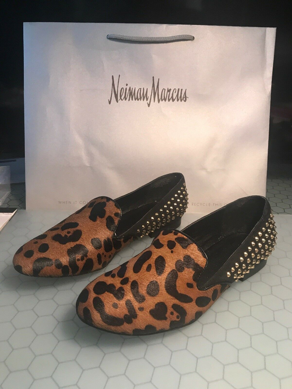 Kelsi Dagger Francie Black Black Black Leopard Pony Studded Flats shoes Sz 10 Rare NIB fb0562