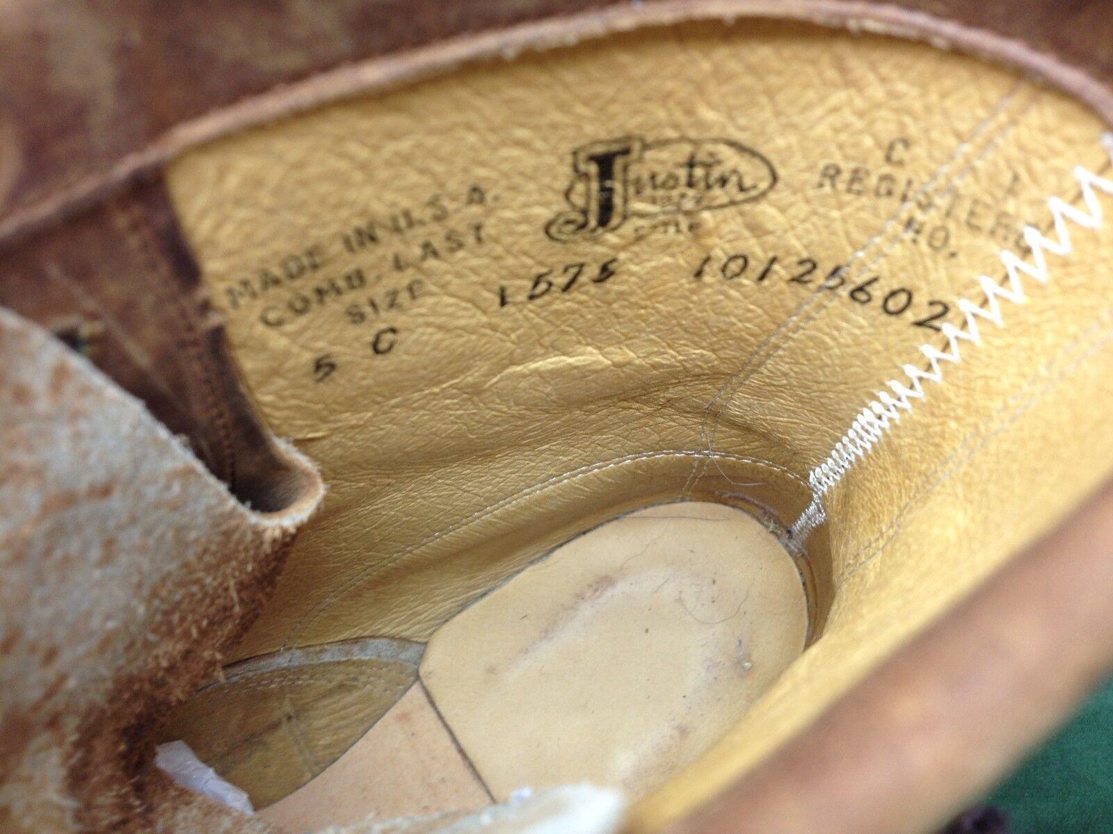 DISTRESSED JUSTIN USA 1575 GRANNY BROWN LEATHER WESTERN KILTIE GRANNY 1575 RANCH Stiefel 5C bb98f5