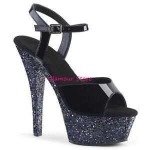 Sexy SANDALI GLITTER tacco 15 dal 35 al 44 NERO plateau scarpe glamour CLUB