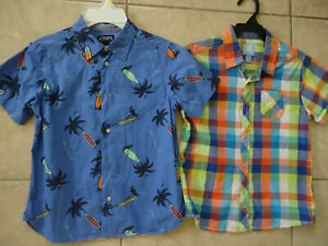 Boys-Chaps-and-JK-size-7-front-button-short-sleeve-shirts-EUC