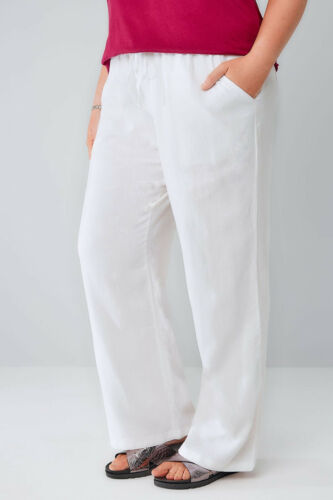BNWT Yours Clothing Mix Di Lino Bianco Pantaloni Tasche Gamba Larga UK 20//30-32