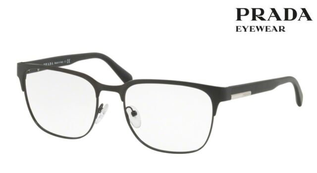 834b44825e PRADA PR 57uv 1bo1o1 Matte Black Metal Square Eyeglasses 56mm for ...