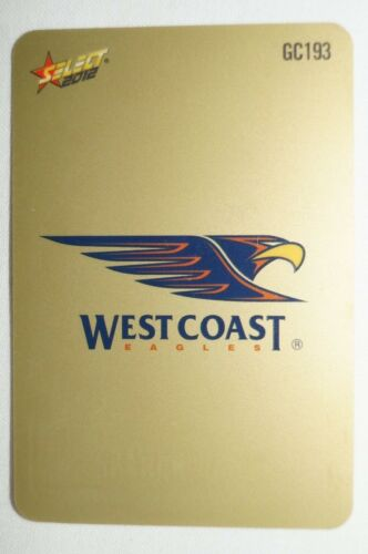 West Coast Eagles AFL Select Peel and Reveal Gold Football Card Logo Checklist