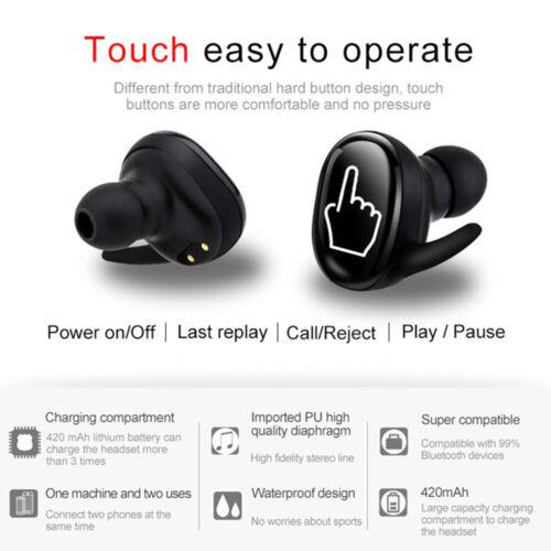 Touch TWS Kopfhörer Bluetooth 5.0 Kabellos Headset für Samsung iPhone Huaw Neue