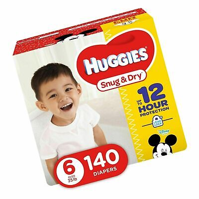 HUGGIES Snug /& Dry Baby Diapers Size 6 140 Count ECONOMY PLUS **No Tax