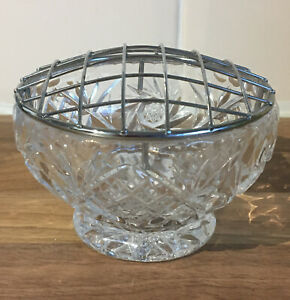Vintage-Cut-Glass-Rose-Bowl-With-Mesh-Top-7-5cm-Tall