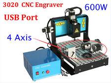 600W CNC Router Engraver 4 Axis 3020 Carving Machine Milling Desktop USB Port