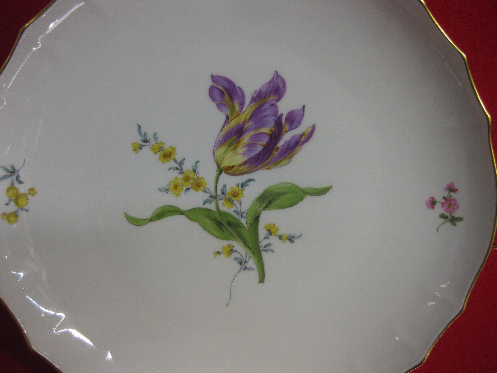 Meissen Schale Kuchenteller Gemüse Schwerter Schwerter Schwerter Bouquet Blaume Blaume 1257a3