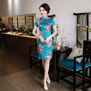Chinese-Traditional-Mini-Cheongsam-Women-Summer-Silk-Dress-Prom-Qipao-S-6XL