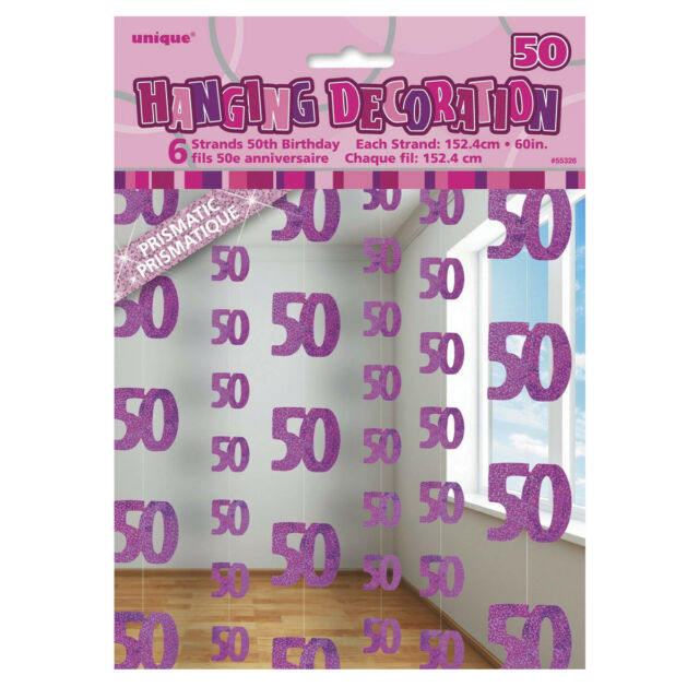 5ft Hanging Glitz Pink 50th Birthday Decorations Pack Of 6 Age 50